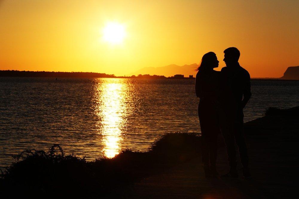 tramonto nelle saline di Marsala