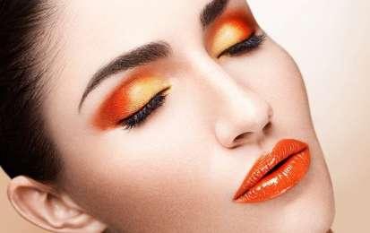 trucco occhi e labbra arancione